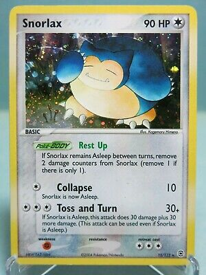 Snorlax 15/112 Holo Rare EX FireRed and LeafGreen Pokemon Card SWIRL - Excellent