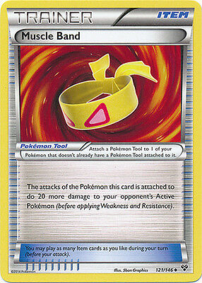 1x Pokemon XY Muscle Band 121/146 Reverse Rare Trainer Card