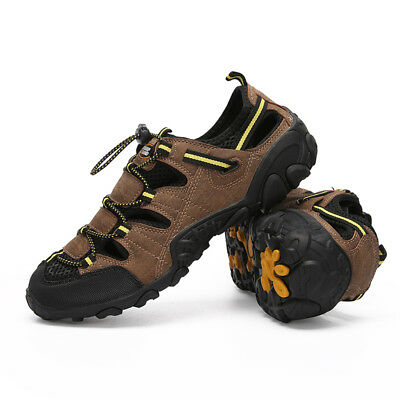 bf5ef56c2864 Men s Leather Acitive Sandals Breathable Closed Toe Shoes Hiking Beach  Sports