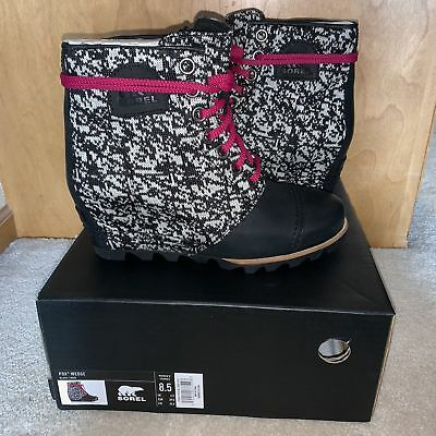 f8609a0bd771 NEW Sorel Lea PDX Wedge Size Black White Knit Leather Waterproof Ankle Boot