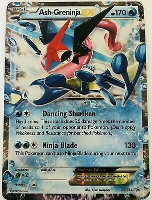 ULTRA RARE Ash-Greninja EX Pokemon XY133 Black Star Promo Holo Foil Rare - MP