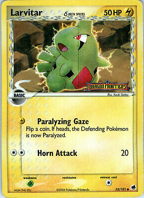EX Dragon Frontiers Reverse Holo Stamp Larvitar 52/101 Pokemon Trading Card MP