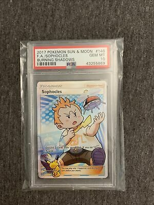 PSA 10 SOPHOCLES # 146 FULL ART TRAINER Pokemon BURNING SHADOWS - GEM MINT
