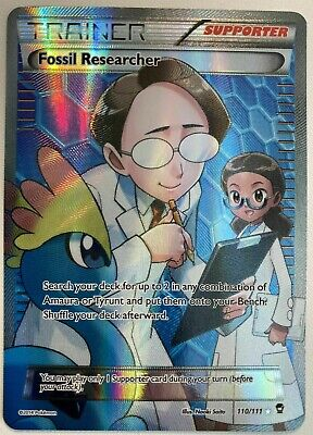 FULL ART Fossil Researcher ULTRA RARE 110/111 Pokemon XY Furious Fists Holo - LP