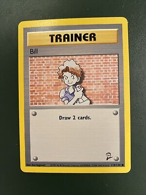 Trainer BILL Pokemon Card BASE SET 2 (118/130) Near mint