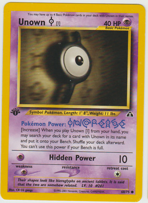 Tracking 1st Edition Neo Discovery Pokemon Card Common Unown I 68/75