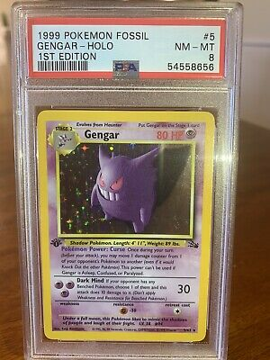 Pokemon Fossil Holo Gengar 5/62 1st Edition PSA 8 NEAR MINT! Freshly Graded!