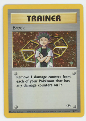 Pokemon Card Unlimited Edition Holo Rare Gym Heroes 2000 Brock 15/132
