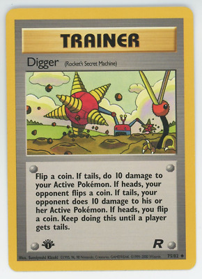 Digger 75/82 NM Pokemon Card Team Rocket 1st Edition Uncommon 2000 Trainer WOTC