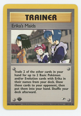 Erika's Maids 109/132 Near Mint NM Pokemon Card Gym Heroes 1st Edition Uncommon