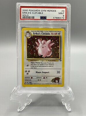 2000 Pokemon Gym Heroes Holo Erika's Clefable #3 PSA 9 MINT Unlimited