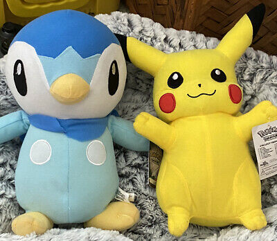 """Pokemon Piplup and Pikachu Plushes 9"""" 2008 Diamond And Pearl Toy Factory w/tag"""
