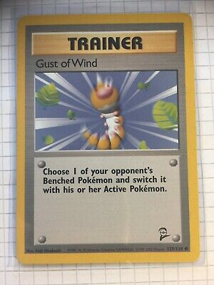 Trainer Gust Of Wind Common 120/130 Base Set 2 Pokemon Card.