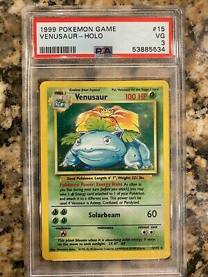 1999 Venusaur 15/102 Holo Base Set 1999 Pokemon Game PSA 3