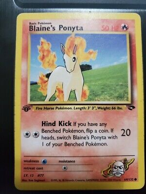 Blaine's Ponyta 64/132 1st Edition Gym Challenge Pokemon Card