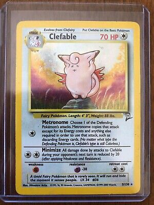 Clefable Jungle Holo 5/130 base set 2 2000 Pokemon. Good condition