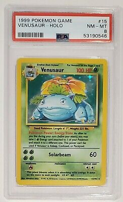 1999 Pokemon Base Set VENUSAUR PSA 8 NM-Mint Holo #15/102 TCG
