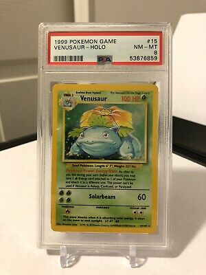 💥Venusaur Holo Base Set PSA 8 NM-MT 1999 Pokemon Game 15/102 Pokemon Card