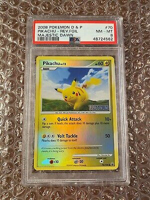 PSA 8 Pikachu Reverse Holo Diamond & Pearl Majestic Dawn 2008 Pokemon Card #70