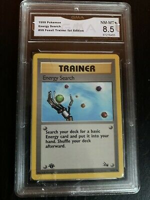 1999 Pokemon 1st Edition Fossil #59 Energy Search Graded GMA 8.5 Nm-Mt+ 59/62