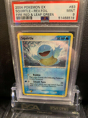 PSA 9 Reverse Holo Squirtle Pokemon Card EX FireRed & LeafGreen 83/112