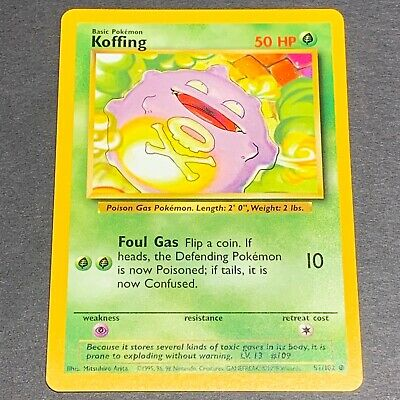 Pokemon Base Set COMMON Koffing 51/102 - Near Mint (NM) Condition