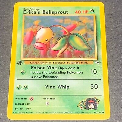 Pokemon 1st Ed. Gym Heroes COMMON Erika's Bellsprout 75/132 - Near Mint (NM)