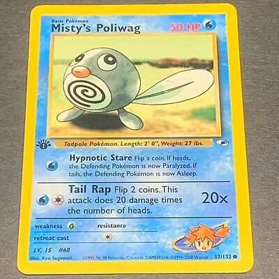 Pokemon 1st Ed. Gym Heroes COMMON Misty's Poliwag 87/132 - Near Mint (NM)
