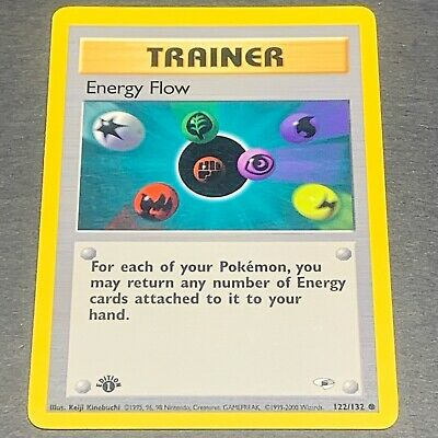 Pokemon 1st Ed. Gym Heroes COMMON Energy Flow 122/132 - Near Mint (NM) Condition