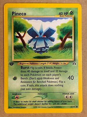Pokemon Card Neo Discovery 1st Edition Pineco 61/75. Vintage