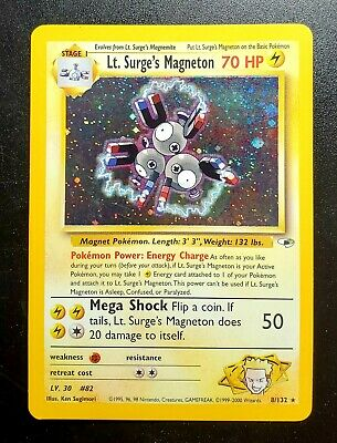 Pokemon Card Lt Surge's Magneton 8/132 Holo Gym Heroes Rare  - NM