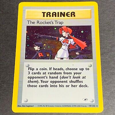 Pokemon Gym Heroes Set HOLOGRAPHIC The Rocket's Trap 19/132 - Played (PL)