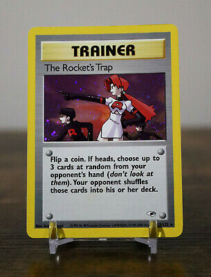 Pokemon TCG Gym Heroes THE ROCKET'S TRAP 19/132 Holo Trainer Card