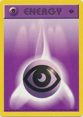 Psychic Energy - 101/102 - Common 1st Edition Played Base Set Pokemon 2B3