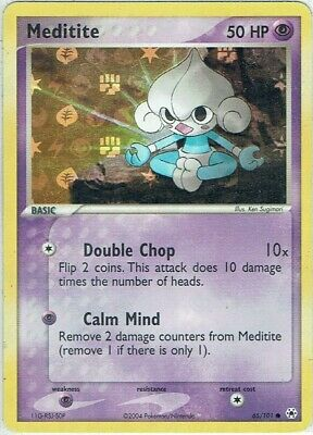Pokemon Karte EX Hidden Legends Nr. 65/101 Meditite Reverse Holo englisch