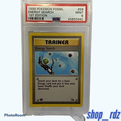 Energy Search Trainer #59 -1999 POKEMON FOSSIL 1ST EDITION PSA 9 MINT