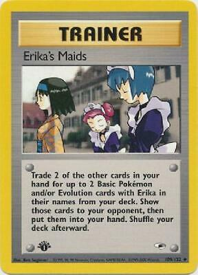 Erika''s Maids- 109/132 - Uncommon 1st Edition Near Mint Gym Heroes Pokemon 2GQ
