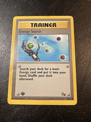 Energy Search 1st Edition Fossil Set Pokemon Card