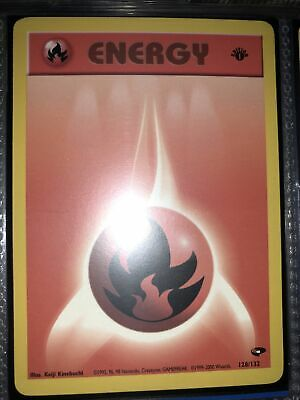 Fire Energy First Edition Pokemon Card (Gym Heroes 128/132) Near Mint