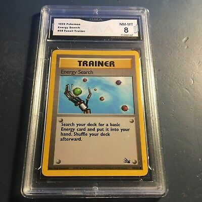 Pokemon Energy Search Trainer #59 Fossil 1999 WOTC GMA GRADED 8 NM-MT PSA Ready!