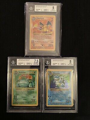 1999 Pokemon Base Shadowless Charizard Blastoise Venusaur Beckett BGS 8 Trio (3)