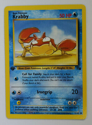 Pokemon Fossil 1st Edition #51 Krabby Card #51/62 Near Mint