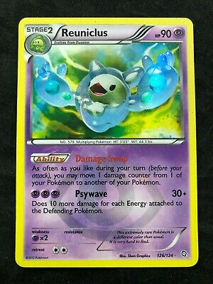 Pokemon CCG Reuniclus Secret Rare 126/124 Dragons Exalted Creased Otherwise LP