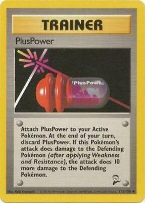 1x PlusPower - 113/130 - Uncommon - Unlimited Edition Base Set 2 Pokemon Near Mi