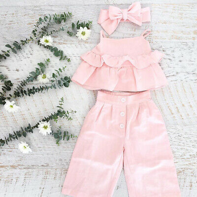 9902a7ab59 3PCS Kid Baby Girl Ruffle Crop Tops Pants Trousers Outfit Clothes Summer  1-6Y US