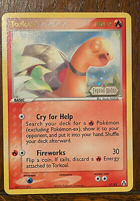 Torkoal 27/92 Holo Rare Stamped EX Legend Maker Pokemon Card Played Condition