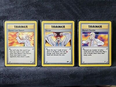 Pokemon cards BLAINE'S Gym Challenge Trainer Cards, Fervor, Gamble, Last Resort.