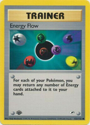 Pokemon Card - Gym Heroes 122/132 - ENERGY FLOW (common) **1st Edition** - NM