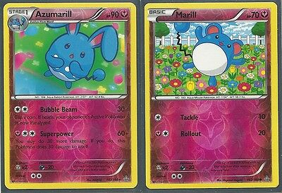 2 POKEMON EVOLUTION- RARE AZUMARILL & MARILL- XY Primal Clash BOTH REV HOLO MINT