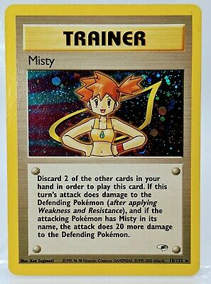 HOLO MISTY Waterflower 18/132 Gym Heroes  Supporter Trainer Pokemon Card